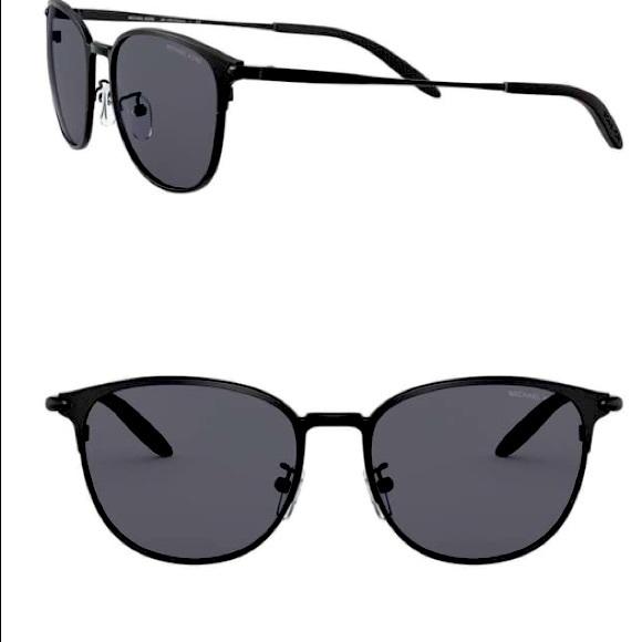 Michael Kors black polarized rounded sunglasses 54